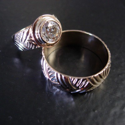 14k Chased Wedding Set