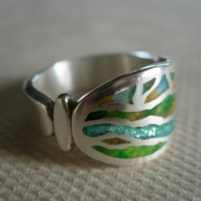 Champleve' Ring: Sterling & Fine Silver