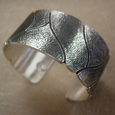Sterling Cuff: Matted and Chased