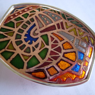 Copper & Sterling Champleve' Buckle