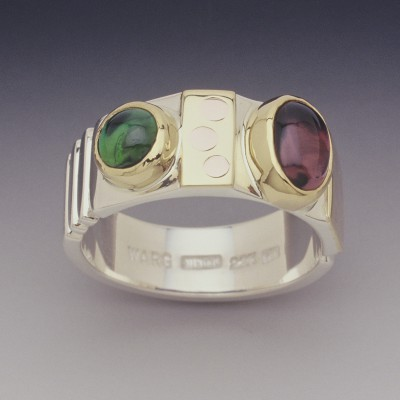 Sterling, 22K and Tourmaline Ring