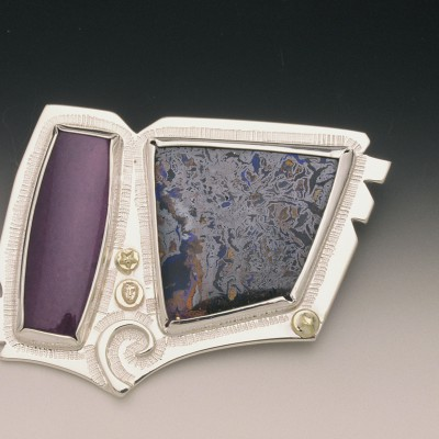 Sugalite, Opal Sterling Brooch
