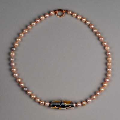 Mauve Pearl, Sterling and 18k Necklace