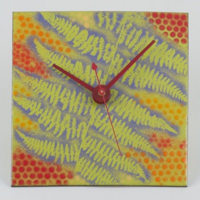 Fern Clock, Green / Red Enamel